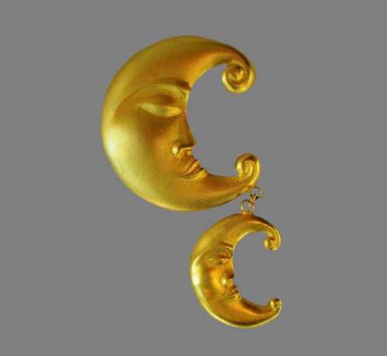 Double crescent matte gold tone dangling pin