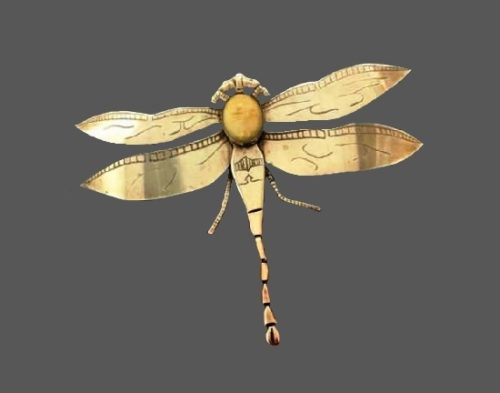 Dragonfly sterling silver natural stone pendant brooch. 1960s