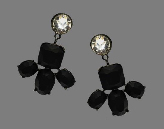Drop dangle black and clear rhinestone earrings