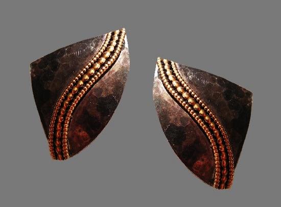 Faux marble gold tone earrings