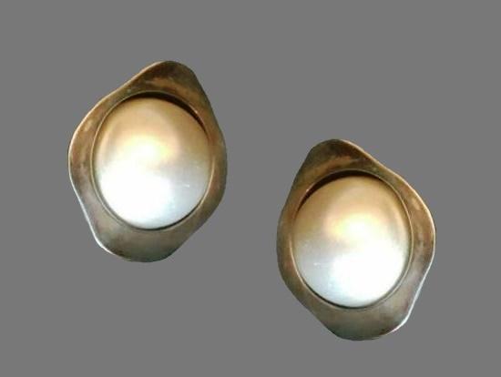 Faux pearl sterling silver earrings. 1960s