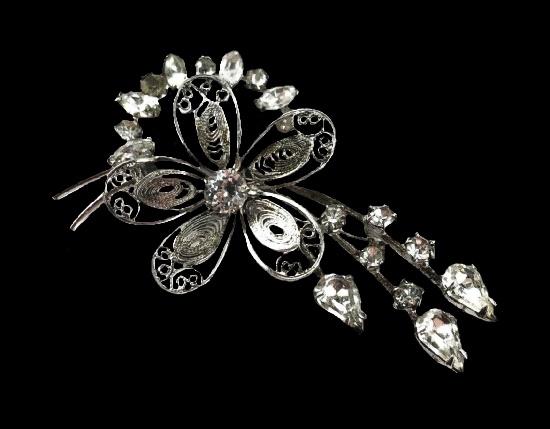 Filigree flower brooch pendant. 925 Sterling silver, rhinestones. 5.6 cm