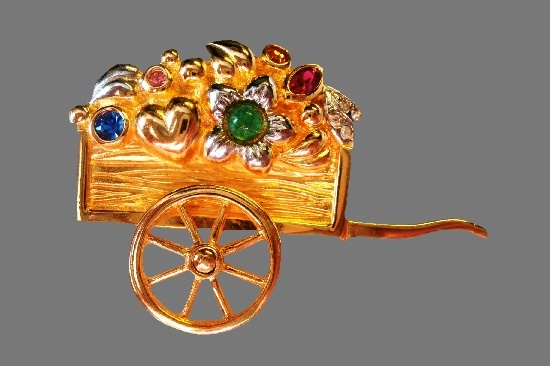 Flower Cart brooch pin. Crystals, gold and silver plated