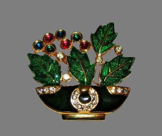 Flower basket brooch. Gold tone metal, glitter enamel, clear rhinestones, art glass