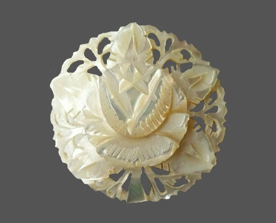 Flower brooch. Carved mother-of-pearl
