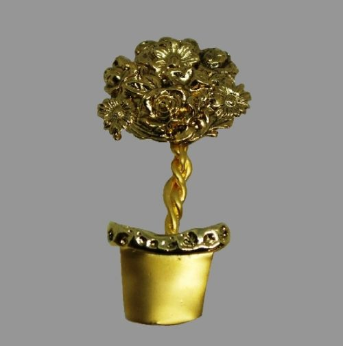 Flower in Pot gold tone pin