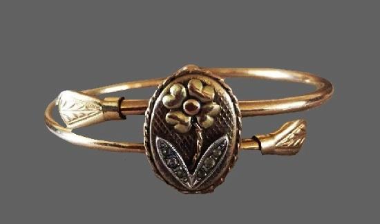 Forget me Not flower 12 k gold filled bracelet. 1910s