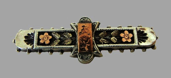 Gold and silver floral design bar brooch. 1890
