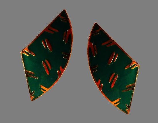 Gold patterns and turquoise enamel earrings