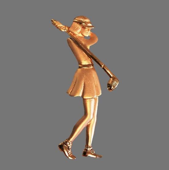 Golfing girl gold tone pin