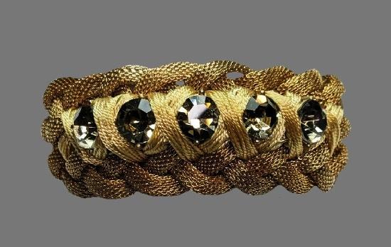 Gray rhinestone braided bracelet of gold tone