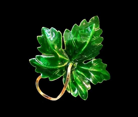 Green enamel gold filled leaf brooch