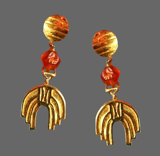 Gripoix gold plated dangle earrings. 1980s