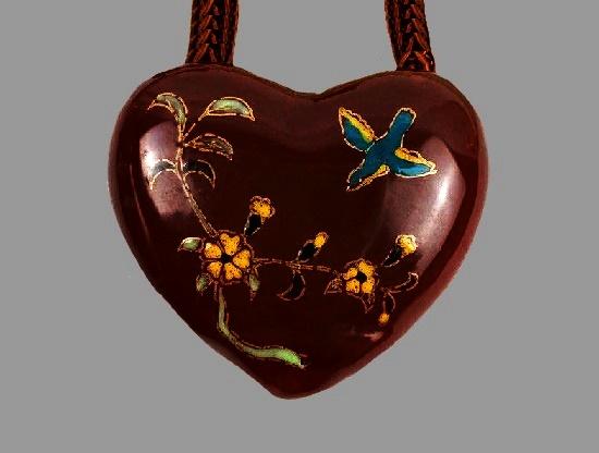 Handpainted bone china heart pendant. 1980s