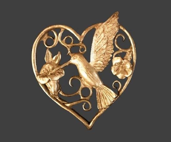 Hummingbird and flower inside heart pewter brooch