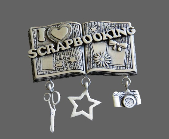 I Love Scrapbooking pewter brooch with scissors, star, and camera charms. 1980s