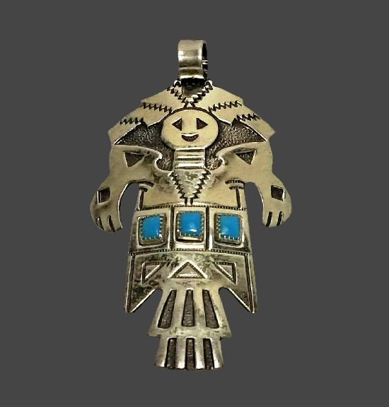 Kachina sterling silver turquoise necklace