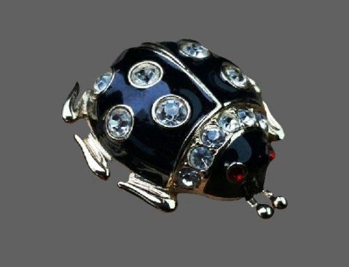 Ladybug brooch pin. Gold tone metal, rhinestones, enamel
