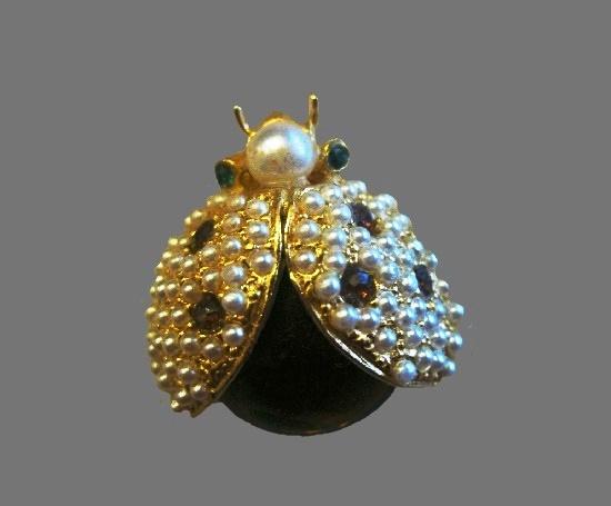 Ladybug pin. Gold tone metal, plastic, faux pearls, rhinestones. 1970s