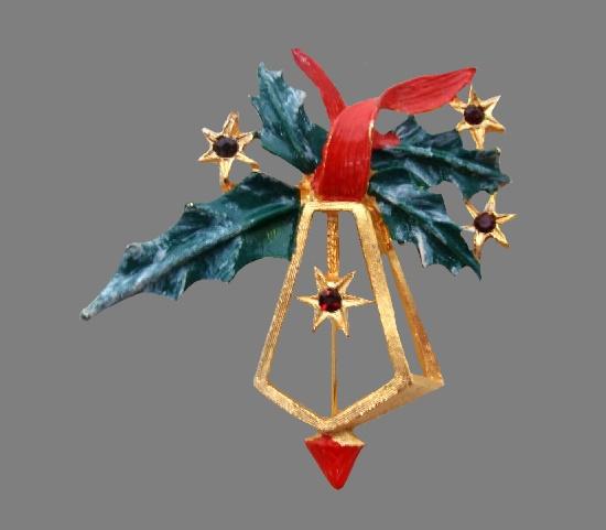 Lantern and holly leaves Christmas theme brooch. Metal alloy, enamel, rhinestones