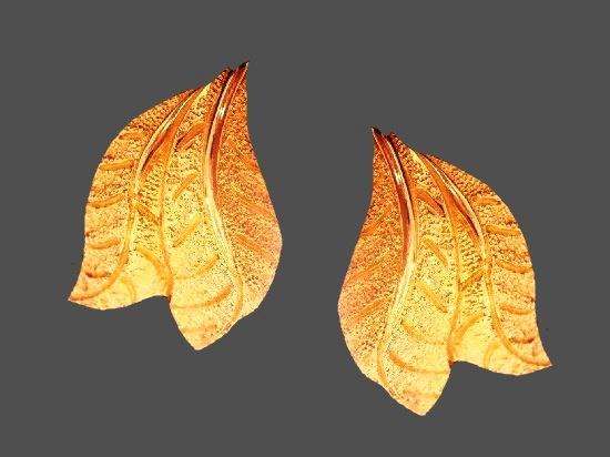 Leaf gold plated clip on earrings