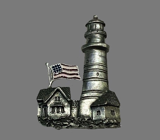 Lighthouse with American flag patriotic brooch. Pewter