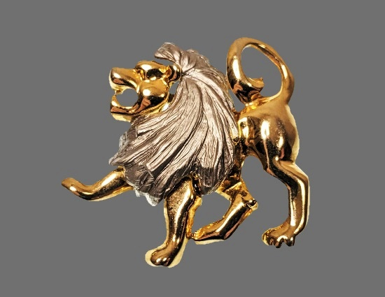 Lion gold and silver tone vintage brooch