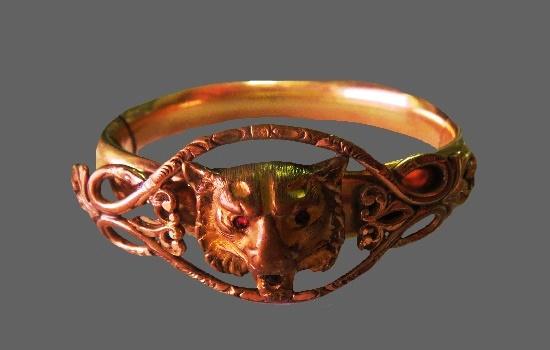 Lion gold filled antique cuff bracelet