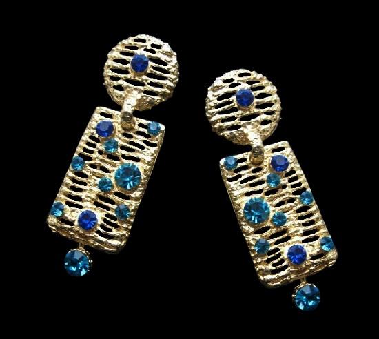 Long dangling earrings. Gold tone metal, rhinestones. 8.5 cm. 1990