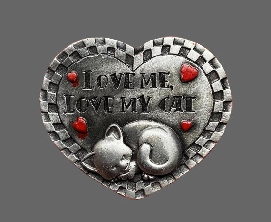 Love me love my cat heart shaped pewter pin. 1980s