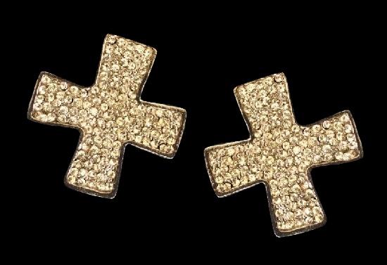 Maltese cross clip-on earrings. Silver tone metal, rhinestones. 1980s