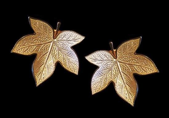 Maple leaf sterling silver clip on earrings