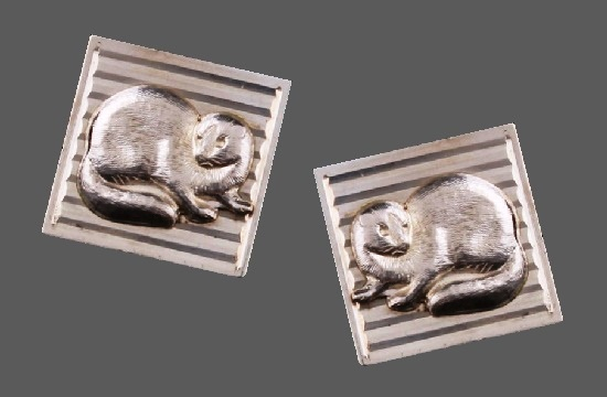 Mink on striped textured square shaped sterling silver cufflinks