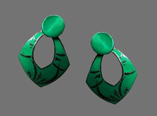 Mint green enamel silver plated dangle earrings