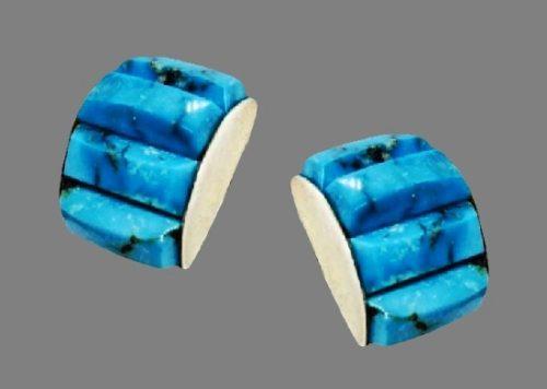 Modernist design blue turquoise sterling silver earrings. 1970s