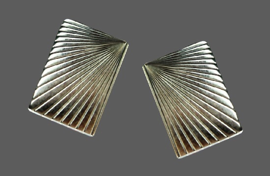 Modernist design textured sterling silver gold plated cufflinks. 1950s