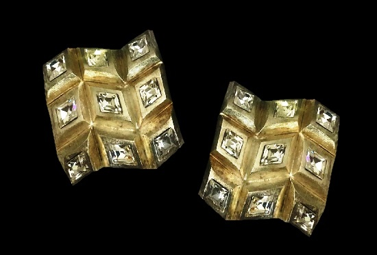 Montana for Marie Paris square crystal gold plated earrings