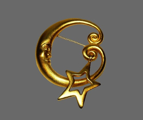 Moon and star brushed gold tone brooch