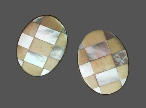 Mother-of-pearl faux ivory, brass clip on earrings. 1970s
