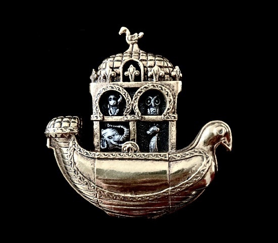 Noah's Ark sterling silver gold plated brooch