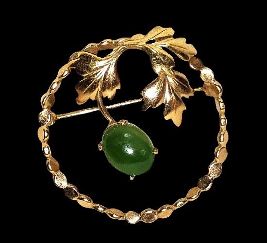 Oak leaves circle pin. Green agate, 12 K gold filled