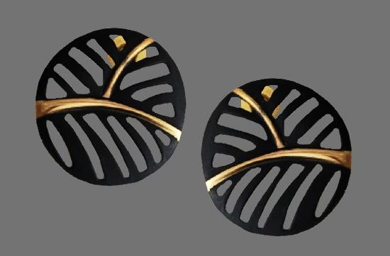 Openwork black enamel gold tone earrings. 1980s