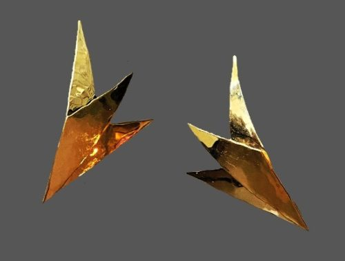 Origami style gold tone pierced earrings