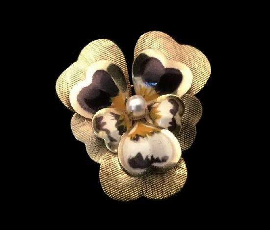 Pansy flower brooch. 12 K gold filled, pearl, enamel