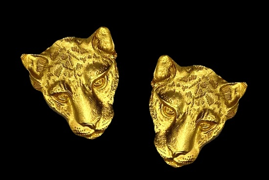 Panther gold tone clip on earrings