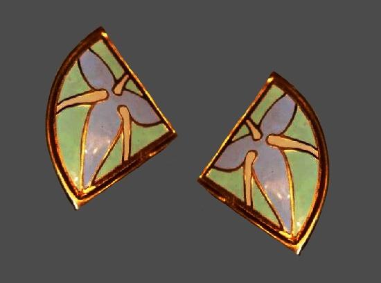 Pastel enamel gold tone pierced earrings