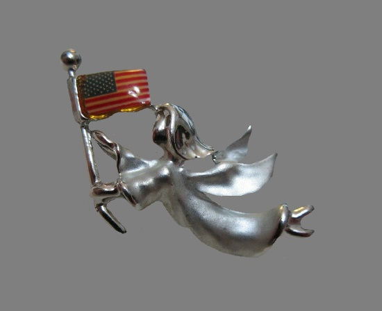 Patriotic Angel with US flag lapel pin. Silver tone metal, enamel