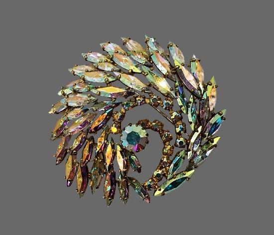 Peacock aurora borealis crystals brooch