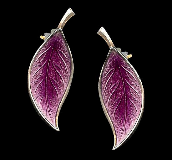 Purple guilloche enamel flower clip on earrings