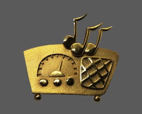 Radio retro and music signs vintage gold tone pin